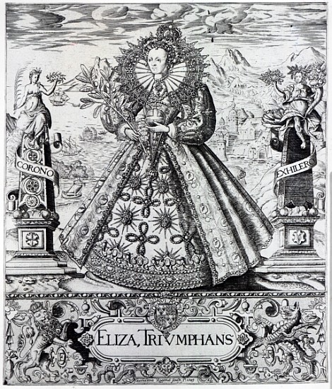 XJF384062 Eliza Triumphans, 1589 (engraving) by Rogers, William (c.1545-1610); Private Collection; (add. info.: Elizabeth I (1533-1603) Queen of England); English, out of copyright