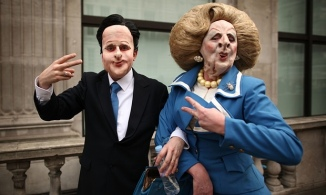 Anti-cuts protesters dressed as David Cameron and Margaret Thatcher at the TUC march inLondon, in 2011. Photograph: Peter Macdiarmid/Getty Images