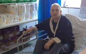 Ward you believe it? Michael Steel's stay in a hospital cupboard (Image: Daily Mirror / Ian Down / Vicky Smith)